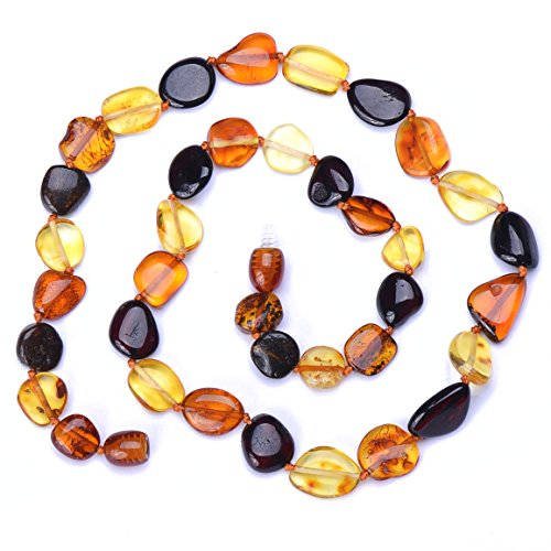 Genuine Amber Necklace for Adult - Beans Shape Glossy Beads - Multicolor (20)