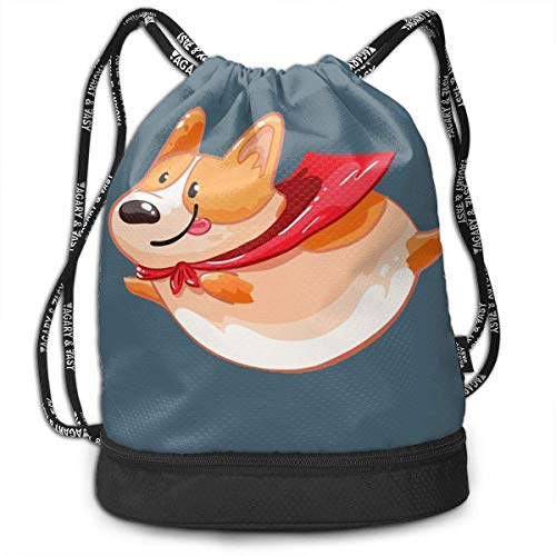 DPASIi Unisex Flying Fat Corgi Multifunctional Drawstring Travel Bag Casual Outdoor Daypack,Adjustable String Closure