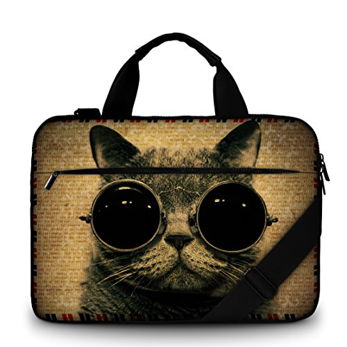 Luxburg 13.4 inch Laptop Bag Case Canvas Shoulder Bag with Handle - Cool kitty
