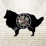 mbbvv Reloj de Pared de Vinilo Navidad Perro Pastor casa Mascota Grabado con láser Reloj de Pared Animal Creativo Colgante de Pared Artista decoración del hogar Reloj