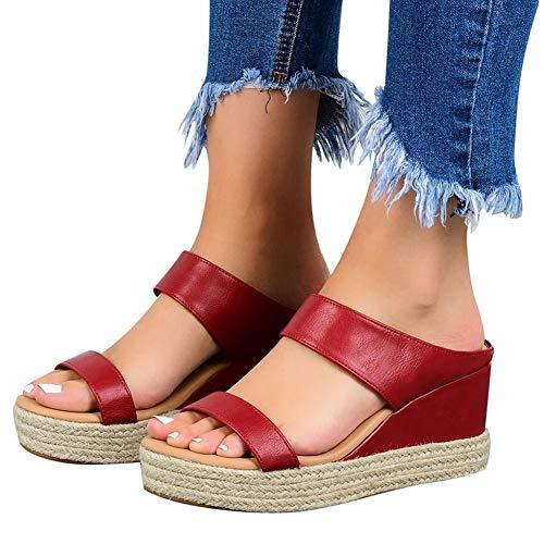 XXZ Sandalias con Punta Abierta para Mujer de Cuero Cómodo Sandalias de Caminar Antideslizantes Zapatos de Viaje Verano Playa,2red,41