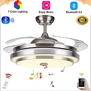 42 Inch Modern Retractable Ceiling Fans with Light Smart Bluetooth Music Player Chandelier 7 Colors Invisible Blades with ...