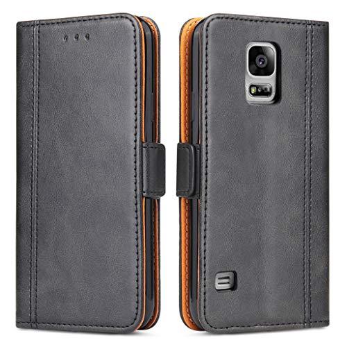 Bozon Galaxy S5 Hülle, Leder Tasche Handyhülle für Samsung Galaxy S5 (S5 Neo) Schutzhülle Flip Wallet mit Ständer und Kartenfächer/Magnetverschluss (Schwarz-Grau)