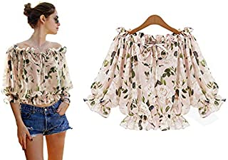 Fashion Printed Summer Off Shoulder Women Chiffon Blouse