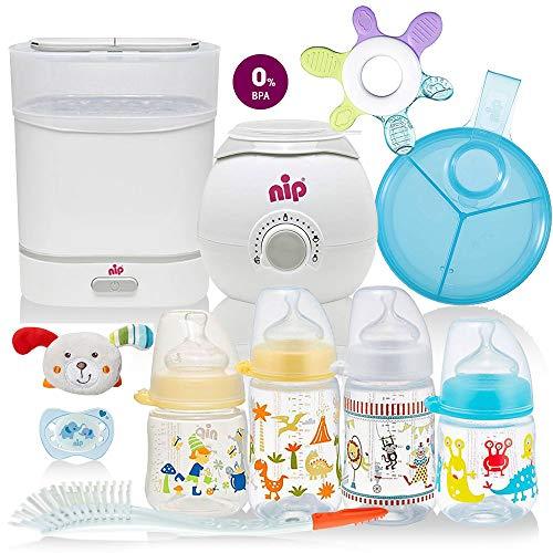 NIP® All-in One Starter Set Mega Set mitwachsende Baby Erstausstattung mit Sterilisator Sterilisator (Dampfgarer), Flaschen-und Babykostwärmer, Milchportionierer, Flaschen etc, ab Geburt