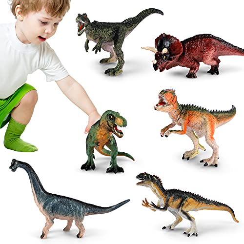 Dinosaur Toys for Kids Age 3-7 Educational Dinosaur Figure Toys Birthday Toys Gifts for Boys Girls Preschool Toddlers 6Pcs with Storage Box