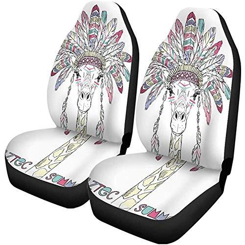 TABUE 2 stuks autostoelhoezen Hippie Aztec giraffe zomer dier Bohemian Boho tekening Drawn Seats Protector geschikt voor auto, SUV limousine, vrachtwagen