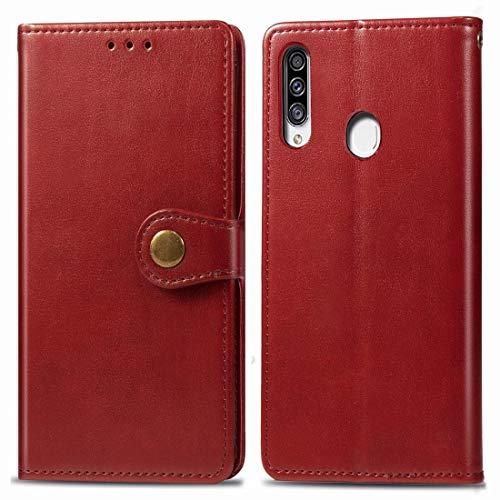 Mingxian For Galaxy A20S Cuero Color Hebilla Teléfono Retro sólido con Correa y Marco de la Foto y la Tarjeta de Ranura y Monedero y Soporte de Funciones (Brown) (Color : Red)