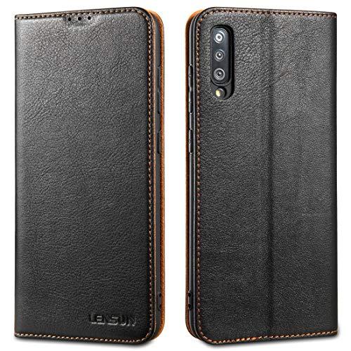 """Lensun Cover Samsung A70, Vera Pelle Flip Custodia a Portafoglio Telefono con Magnetica per Samsung Galaxy A70 6,7"""" - Nero (A70-DC-BK)"""