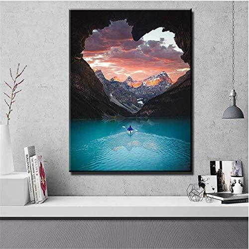 YaShengZhuangShi Druck auf Leinwand 50x70cm ohne Rahmen Wandkunst Home Decoration Nordic Modular Picture Kanu Kajak New World Poster Malerei Wohnzimmer