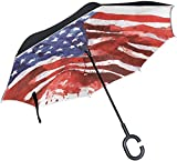 huatongxin United States of America Flag Ourdoor Car Rain Double Layer Paraguas invertido with C Handle