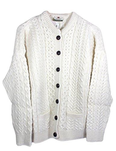 Arran Woolen Mills Irischer Wollfäller-Cardigan-Pullover aus Wolle (Natürlich, XL)