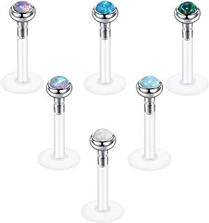 Xpircn 16G Opal Labret Monroe Lip Rings Bioflex Earring Studs Piercing Jewelry 6PCS