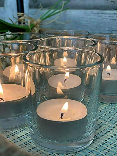 Homes on Trend Tea Light Holder Pot T-Light Candle Votive Glass Wedding Centerpiece Decorative Décor Decoration Reception Table - Clear - Set Size 6