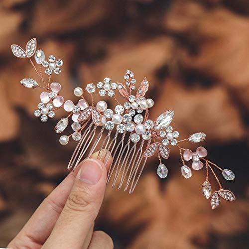 Mayelia Kristall Braut Hochzeit Haarkamm Rose Gold Kopfschmuck Perle Haarspangen Blatt Braut Haarschmuck für Frauen und Mädchen