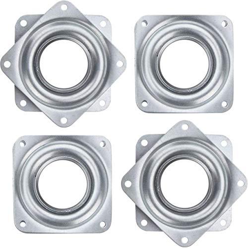 GDglobal - Juego de 4 rodamientos cuadrados de 7,6 cm para mesa de centrifugado de 360 grados con capacidad de carga de 150 libras para estanterías y muebles (plateado)