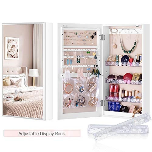 LUXFURNI Small Mirror Jewellery Cabinet Wall-Mount/Door-Hanging Armoire, Lightweight Storage Organizer