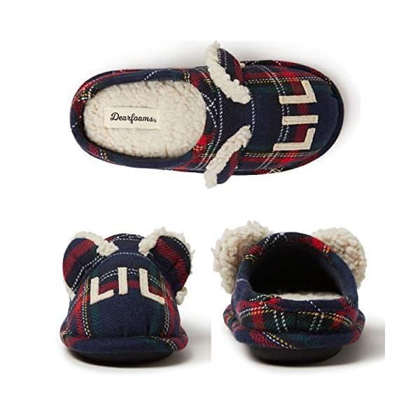 Dearfoams Kids' Family Collection Kids & Toddler Bear Tartan Plaid Clog Slipper