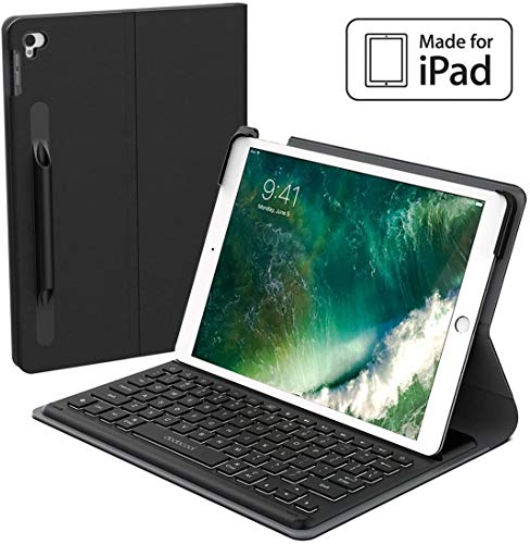 Smart Keyboard for iPad Air 3rd Gen 10.5' 2019 & iPad Pro 10.5' 2017, iPad Wireless Keyboard Case with Keyboard, Smart Connector, Backlit, Shortcuts, Auto Sleep/Wake, Pencil Holder[MFi Certified]