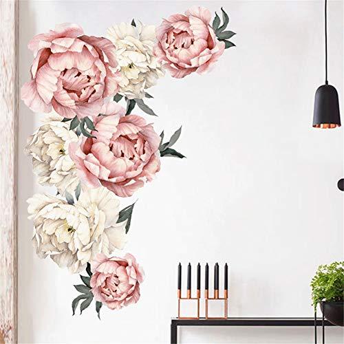 LucaSng Abnehmbare Wandaufkleber, Wasserdicht Wandtattoo Pfingstrose Rose Blumen Wanddeko für Wohnzimmer Schlafzimmer Ecke TV Hintergrund (Stil A)