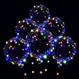 Led Balloons , 15pcs Clear balloon 10set Light Up Colorful Bobo Balloons Transparent Light Balloons, Weddings, Banquets, Outdoor and Indoor Parties, Anniversary, House Party, Family Reunion, Birthday and Event Centerpieces