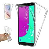 REY Funda Carcasa Gel Transparente Doble 360º para Samsung Galaxy J6 Plus 2018, Ultra Fina 0,33mm,...
