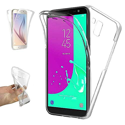 REY Funda Carcasa Gel Transparente Doble 360º para Samsung Galaxy J6 Plus 2018, Ultra Fina 0,33mm, Silicona TPU de Alta Resistencia y Flexibilidad
