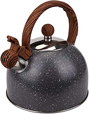 Nicunom 2.7 Quart Tea Kettle Natural Stone Finish Stovetop Whistling Teapot with Wood Pattern Handle, Food Grade Stainless Steel Teapot, Anti-hot Handle, Anti-rust, Suitable for All Heat Sources, Gray