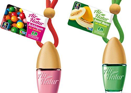 2 stijlvolle modieuze Air Natuur Little flessen luchtverfrissers auto en kamer geur 6 ml - geur Bubble Gum - kauwgom + Sweet Melo - meloen