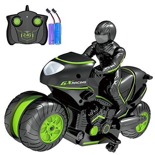 Rc Motorcycle Remote Control Motorcycles, 360° Spinning Action Rotating Drift Stunt Motorbike 2WD High Speed Rc Motorbikes 2.4Ghz Radio Control Racing Motorcyle with Riding Figure Toys for Kids Boys