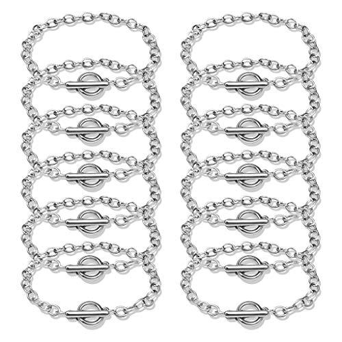 Qiman Juego de 12 pulseras de aleación de metal con cierre de vuelco, para hombres y mujeres, estilo minimalista