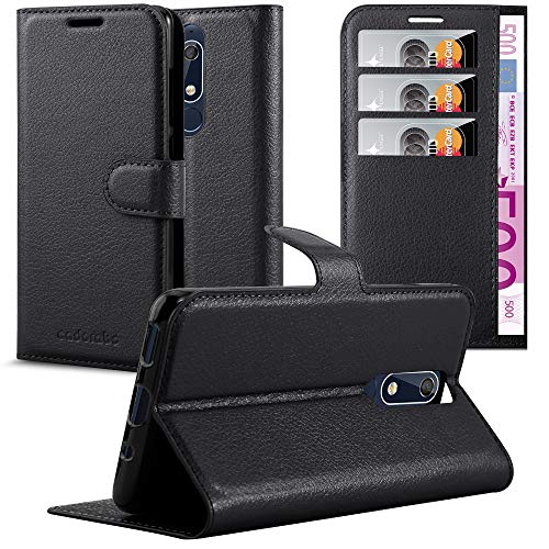 Cadorabo Hülle für Nokia 5.1 2018 in Phantom SCHWARZ - Handyhülle mit Magnetverschluss, Standfunktion & Kartenfach - Hülle Cover Schutzhülle Etui Tasche Book Klapp Style
