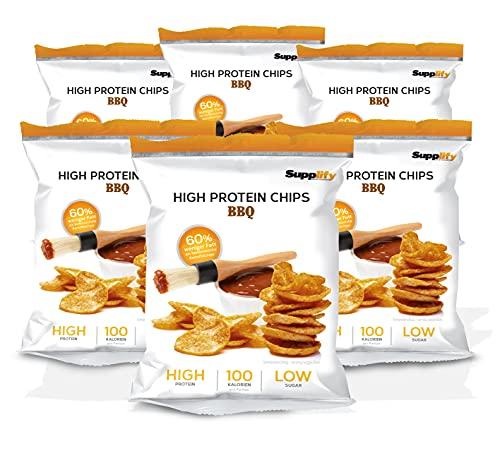 Supplify Protein Chips (BBQ) - Eiweiß Snack zum Abnehmen oder Muskelaufbau - die leckere Alternative zu Protein-Pulver oder -Riegel (6x50g)