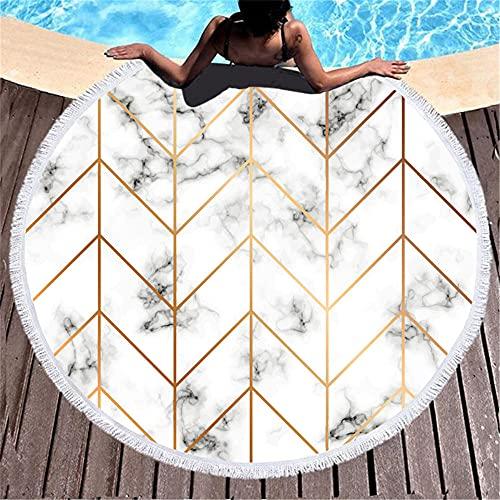 Redondea Aproximadamente 150x150cm Microfibra de impresión Digital de mármol geomérico 3D con Toalla de baño de Playa de Soda-C2 Absorción de Agua Regalo de Playa de Vacaciones