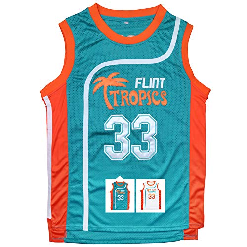 Micjersey Flint Tropics Jersey Moon 33 Basketball Jerseys for Men S-XXXL (Green, S)