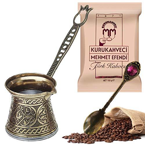 Türkische Kaffeekanne und 100 g türkischer Kaffee – griechisch-arabischer Kaffeebereiter, Doppelstöckiger Stahlboden, Cezve – Herd Induktion