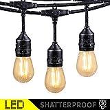 48FT Outdoor String Lights with 15 Shatterproof LED S14 Edison Light Bulbs-ETL Listed