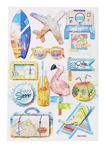 3 D-Sticker Urlaubs-Reise , Bogen 18,5 x 12,5cm