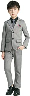 Boy Suit Set 4 Piece Ring Bearer Outfit with Dress Vest Bow Tie Jacket and Pants