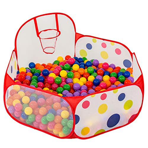 FoxPrint Basketball Ball Pit  Toddler Ball Pit Tent  Sensory Ball Pit with Basketball Hoop amp Zippered Storage Bag  4#039/120cm  Balls not Included
