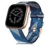 RIOROO Compatible para Fitbit Versa 2 / Versa/Versa Lite Correa de Tejida para Mujeres Hombres,Banda de Tela Respirable Ajustable de Nylon Reemplazo Pulsera Accesorios,Azul