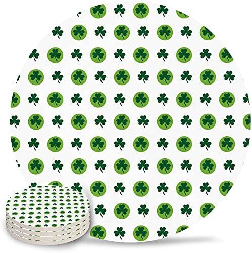 Drink Coasters St Patricks Day Green Shamrock Patroon Absorberende steen keramische onderzetter met kurkrug en geen houder voor kopjes set van 4delig wit