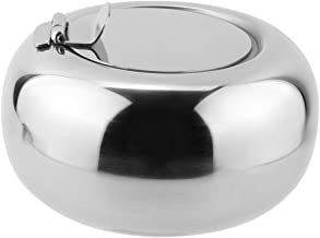 Fan-Ling Thick Stainless Steel Ashtray,Newness Modern Tabletop Ashtray Desktop Smoking Ash Tray, Luxury Drum Type Fashion Windproof Ashtray KTV Bar Ash Tray,Gift