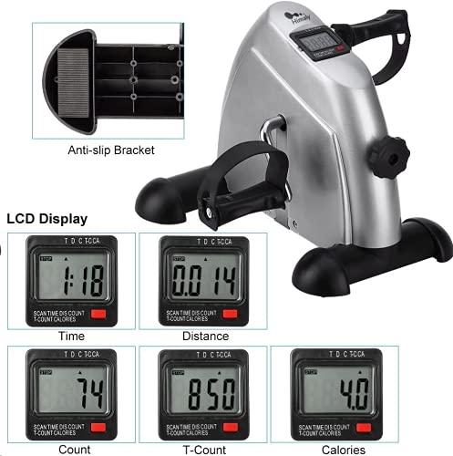 himaly Mini Bicicleta Estática con Pantalla LCD para Entrenamiento de Brazos y Piernas Minibicicleta Ajustable para Hacer Ejercicio en Casa para Mujer y Hombre, Pedales estaticos
