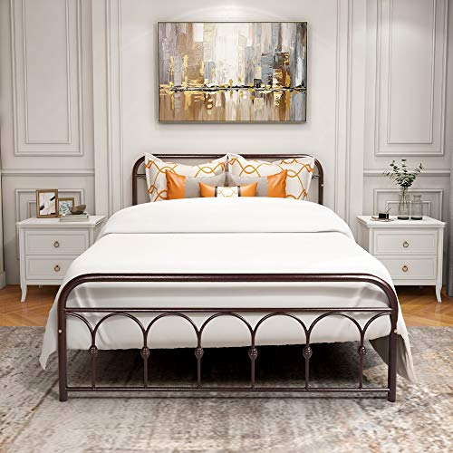 Metal Bed Frame Platform Mattress Foundation Box Spring Replacement with Headboard & Footboard, Queen, Bronze
