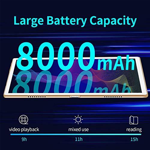 4G LTE Tablet 10 Zoll Android 9 Tablet PC 4GB RAM 64GB ROM / 256 GB Erweiterbar, Octa Core, FHD-IPS-Bildschirm,8000 mAh, Dual SIM, WiFi,Bluetooth, GPS, OTG, Typ C, 5 MP + 8 MP Doppelkamera Tablet Mit
