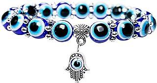 NJ Fatima Evil Eye Bracelet for Men Women - 8mm / 10mm Beads Adjustable Lucky Evil Eye Fatima Hamsa Hand Link Bracelets Amulet Jewelry for Anniversary,Birthday,Friendship Gift