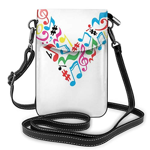 Women Mini Purse Crossbody of Cell Phone,Major and Minor Notes and Other Musical Elements In Uppercase M Design Alphabet