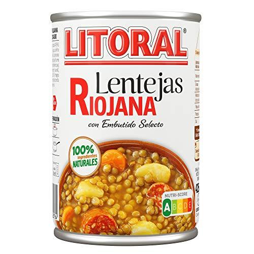 LITORAL Plato Preparado de Lentejas Riojana, Sin Gluten, 430g