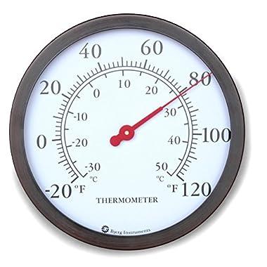 12  Steel Enclosure Decorative Indoor / Outdoor Patio Wall Thermometer (Bronze)